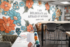 Beautiful art printed by Carter and Main onto removable wallpaper in classroom makeover. #extrememakeoverclassroomedition #classroommakeover #transformyourclassroom #thesuperHEROteacher #removablewallpaper #carterandmain